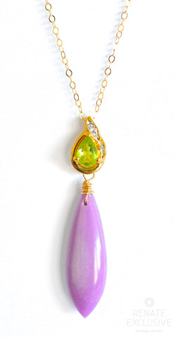 "Handmade Jewelry: Long Phosphosiderite Necklace with Peridot Green Pendant ""Lavendula"""