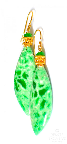 "Luxurious and HUGE Utah Variscite Earrings "" Summer Fun"""