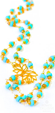 "Handmade Jewelry: Long Sleeping Beauty Turquoise and Golden Ethiopian Opal Necklace with Lotus Charm ""Lotus"""