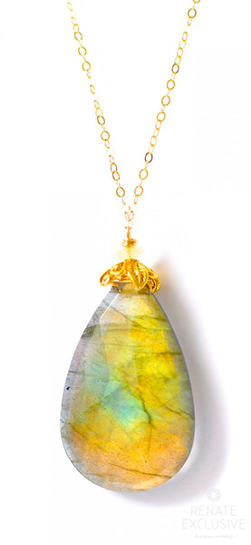 "Simple Big Golden Peach Labradorite Necklace ""Peach"""