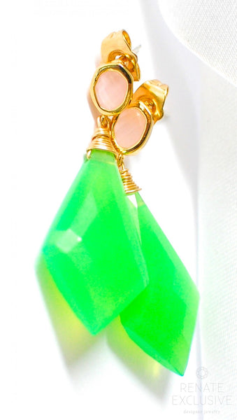 "Spring Green Chrysoprase Earrings ""Greenery Green"""