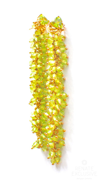 "HOLIDAY Special! Unique 14K Solid Yellow Gold Peridot Green Earrings ""Green Rain"""