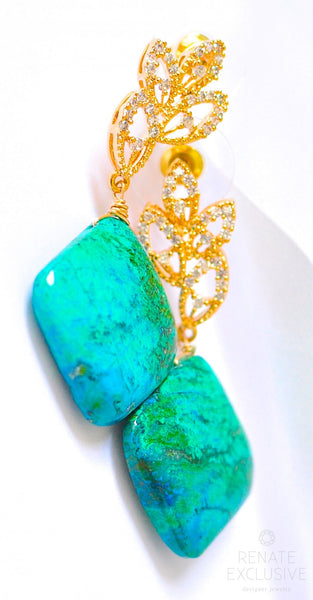 "Large Chrysocolla Malachite Earrings ""Tree"""
