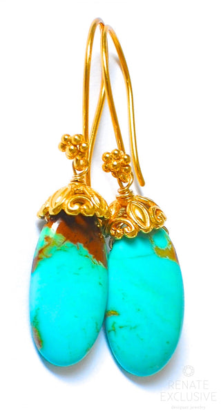 "Simple Kingman Turquoise Earrings ""Turquoise Lovers"""