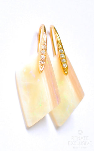"Handmade Jewelry: Australian White Opal Asymmetrical Earrings ""Luxurious Style"""