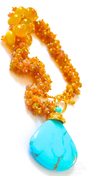 "Luxurious Golden Ethiopian Opal and Turquoise Bracelet ""Golden Girl2"""