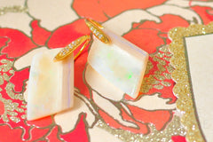 "Australian White Opal Asymmetrical Earrings ""Luxurious Style"""