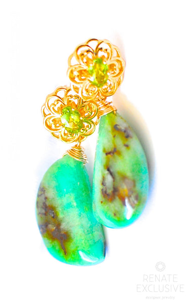 "Luxurious Gem Silica Chrysocolla Earrings "" Spring is calling"""