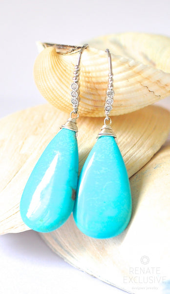 "Luxurious Sleeping Beauty Turquoise Earrings ""Queen Elisa"""