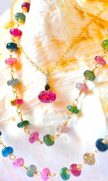 "Luxurious Tourmaline Necklaces with 10K Yellow Gold Tourmaline Pendant ""Colorful Midsummer"""