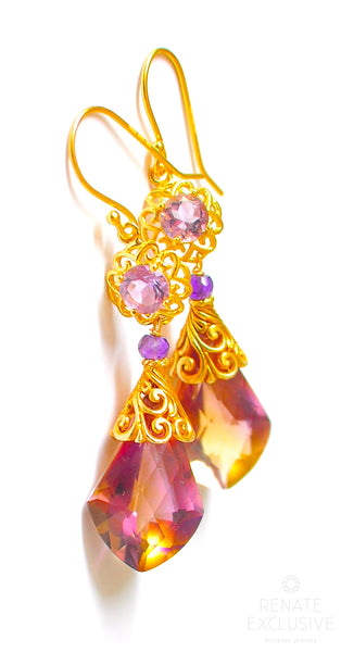 "Luxury Ametrine Earrings with Filigree ""Amy"""