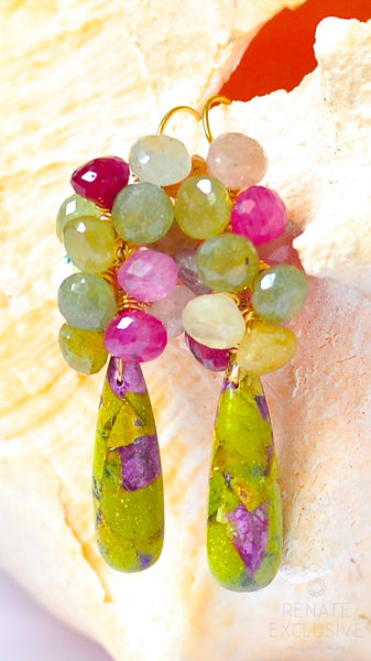 "Unique Tasmania Atlantisite Earrings with Multi Sapphire ""Autumn Days"""