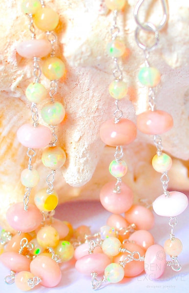 "Luxurious White Opal and Peru Pink Opal One Strand Necklace ""Garden Love"""