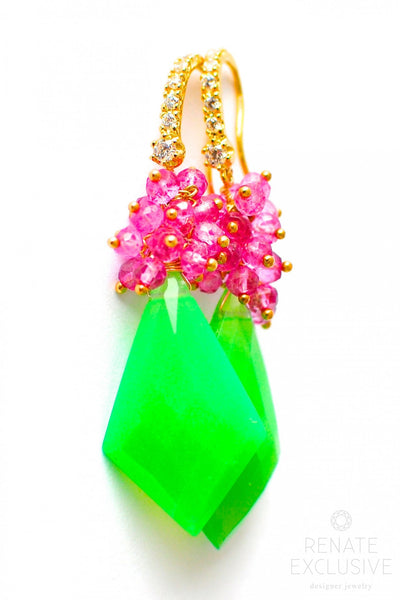 "Long Chrysoprase Earrings ""Christmas mood"" - Handmade Jewelry - Renate Exclusive - 1"