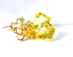 "African Lemon Quartz Earrings ""Suzanne"" - Handmade Jewelry - Renate Exclusive - 3"
