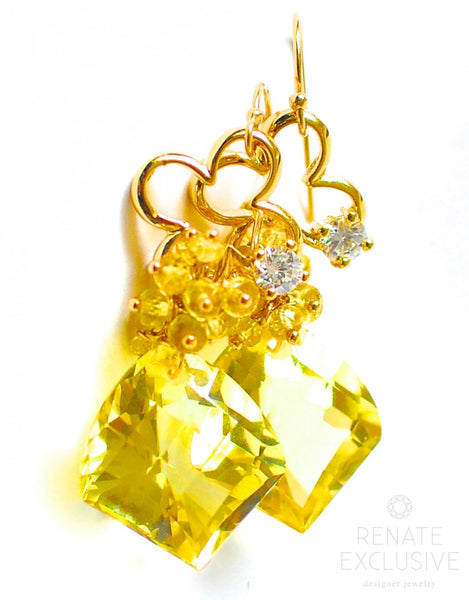 "African Lemon Quartz Earrings ""Suzanne"" - Handmade Jewelry - Renate Exclusive - 1"