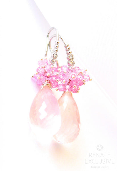 "Rose Quartz Earrings ""Virginia"" - Handmade Jewelry - Renate Exclusive - 1"