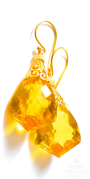 "Artisan Style Orange Citrine Earrings ""Fall Fall Fall"""