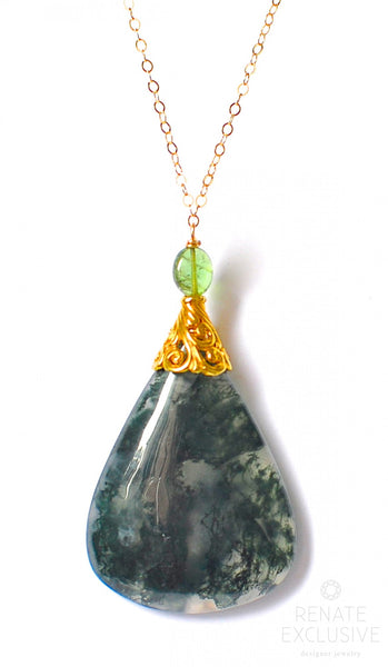 "Large Moss Agate Necklace with Tourmaline ""Forrest Queen"""