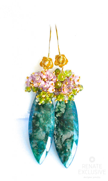 "Deluxe Moss Agate Green Earrings ""Juliet"" - Handmade Jewelry - Renate Exclusive - 1"