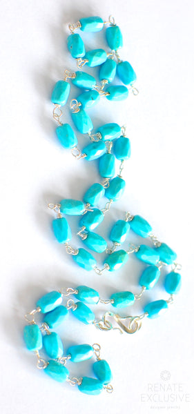 "Pretty Mexican Nacozari Turquoise Necklace ""PrettyBlue"""