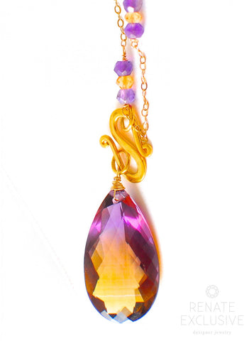 "Handmade Jewelry: Autumn Colors Golden Purple Ametrine Necklace ""Autumn Vibe"" - Handmade Jewelry - Renate Exclusive - 1"