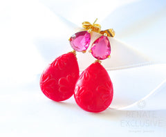 "Cute Japanese Kimono Flowers Earrings ""Japanese Winter"" - Handmade Jewelry - Renate Exclusive - 2"