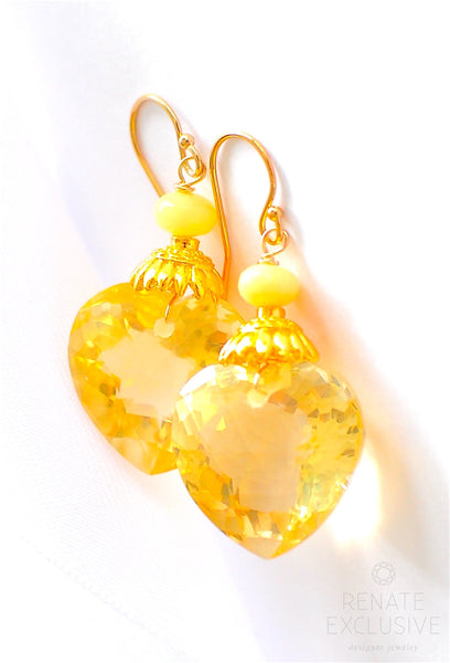"Shiny Lemon Quartz Earrings ""Lemon"""