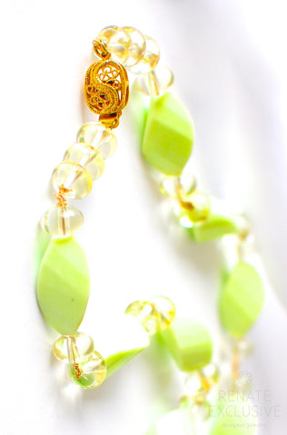 "Handmade Jewelry: Lemon Chrysoprase and Lemon Quartz Necklace ""Lemon"" - Handmade Jewelry - Renate Exclusive - 1"