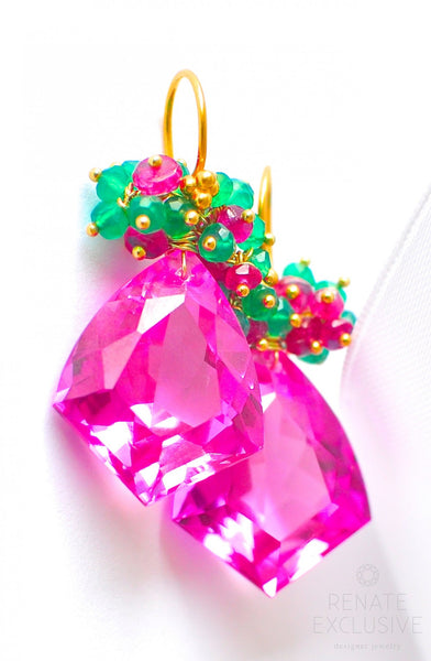 "Christmas Special! Pink Topaz Earrings ""Christmas Colors"" - Handmade Jewelry - Renate Exclusive - 1"