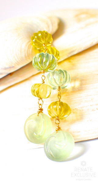 "Unique Lemon Quartz and Prasiolite Green Amethyst Earrings ""Pumpkin"""