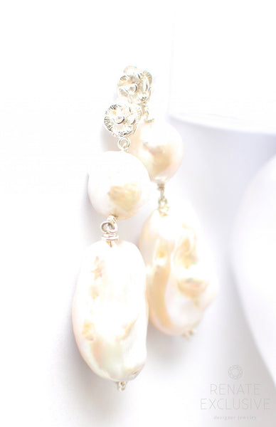 "Christmas Special! Elegance Big White Freshwater Pearl Silver Earrings ""Christmas Fairytale"" - Handmade Jewelry - Renate Exclusive - 1"