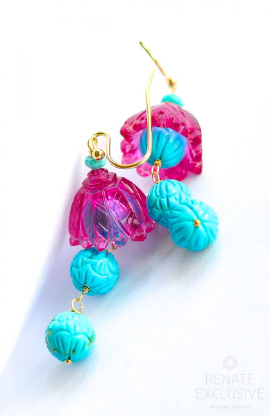 "Unique Hot Pink and Turquoise Hand Carved Earrings ""Vintage"" - Handmade Jewelry - Renate Exclusive - 1"