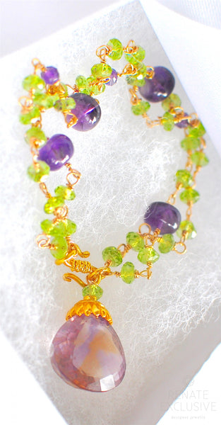"Breathtaking Peridot Green, Amethyst and Ametrine Bracelet ""Colorful Garden"""