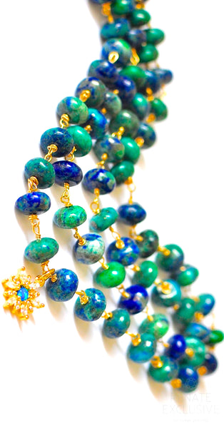 "Luxe Natural Chrysocolla Azurite Necklace with Charm ""Ocean Eleven"""