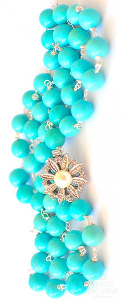 "Campitos Mexican Turquoise Necklace with Elegant Pendant ""Elegant Lady"""