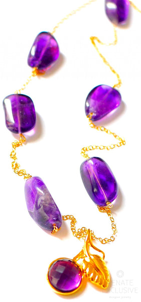 "Elegant Amethyst Nugget and Natural Purple Citrine Necklace "" Purple Rain"""
