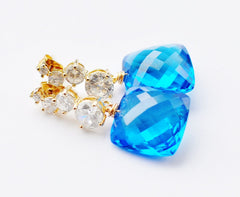 FALL in Love! Luxury Swiss Blue Topaz Earrings - Handmade Jewelry - Renate Exclusive - 2