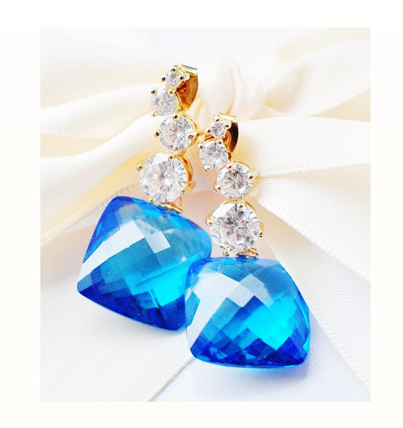 FALL in Love! Luxury Swiss Blue Topaz Earrings - Handmade Jewelry - Renate Exclusive - 1