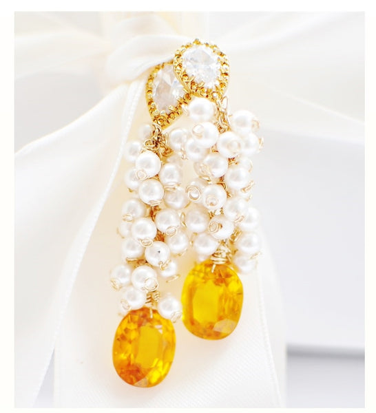Holiday! Luxury Tiny Swarovski Pearls and Golden Yellow Sapphire Earrings - Handmade Jewelry - Renate Exclusive - 1