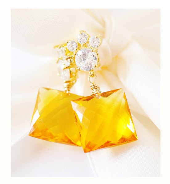 Holiday! Lovely Honey!  Honey Quartz Basket Faceted Briolette Earrings - Handmade Jewelry - Renate Exclusive - 1