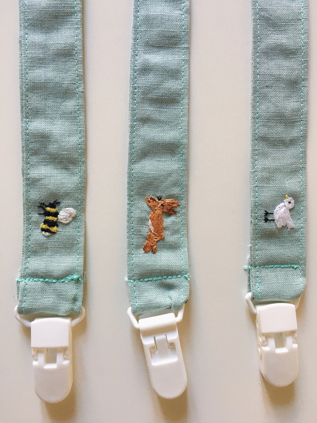 Pacifier clip with embroidery animal