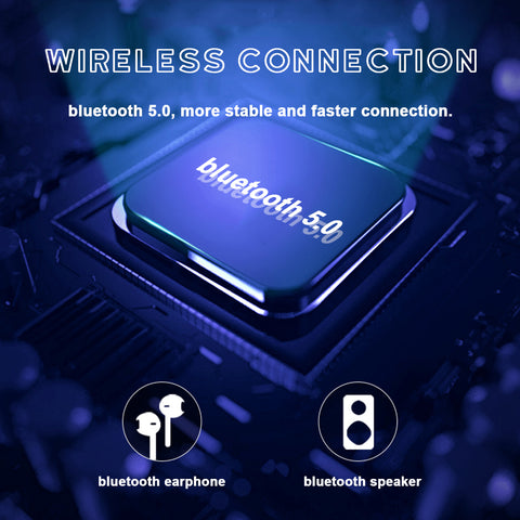 Uses Bluetooth 5.0 for a more stable and faster connection to your bluetooth speaker or earbuds.