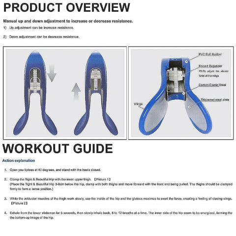 diagram of the MyGreatBody Hip Trainer and workout instructions