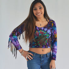 Load image into Gallery viewer, Janis Fringe Crop Top | Purple Spiral