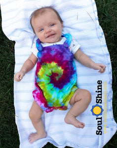 Tie Dye Baby Overall Rompers - 3 Colors to Choose!