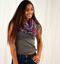 Load image into Gallery viewer, Organic Bamboo Infinity Scarf | Violet Technolcolored Rainbow