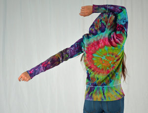 Ladies Long Cuff Sweatshirt | Purple Rainbow