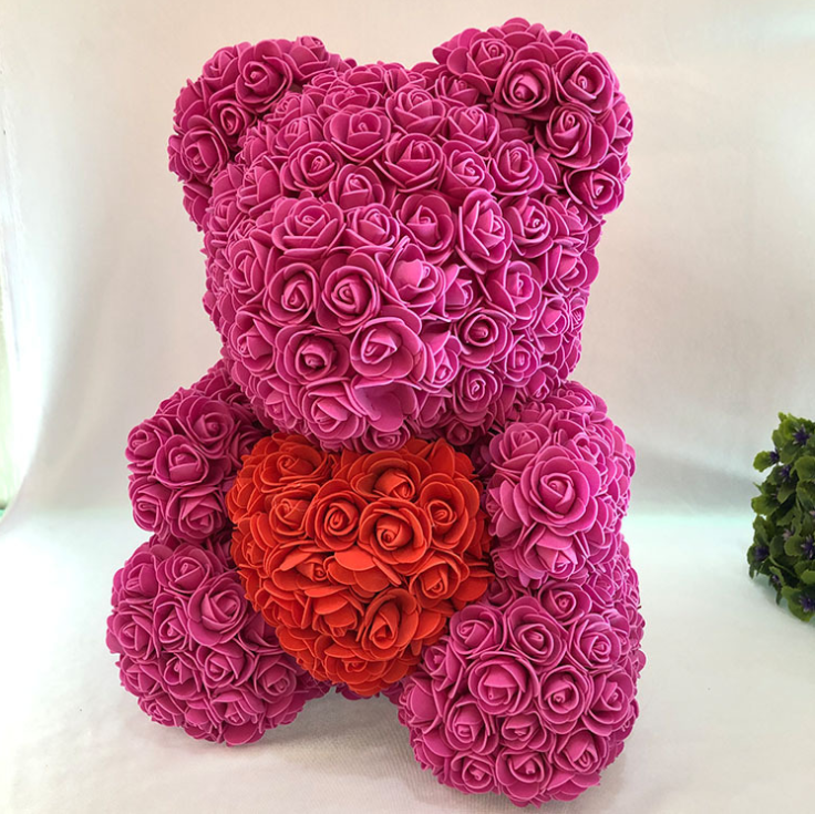 BIG Bright Pink Red Luxury Handmade Rose Bear + Gift Box - PlusCenter.co.uk