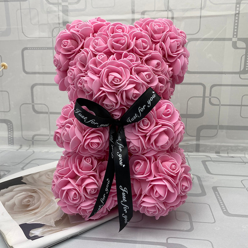 Bright Pink Luxury Handmade Rose Bear + Gift Box - PlusCenter.co.uk